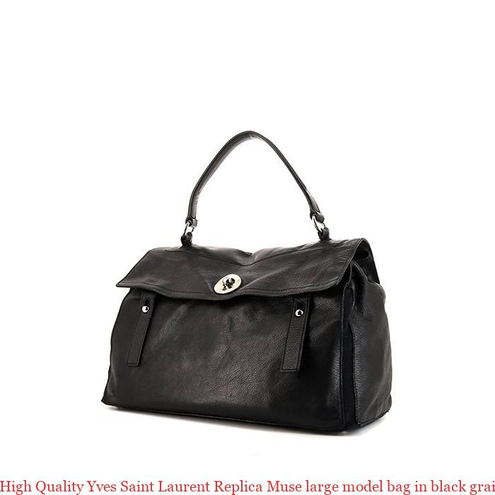 3d4e2db7e3a27 High Quality Yves Saint Laurent Replica Muse large model bag in black  grained leather