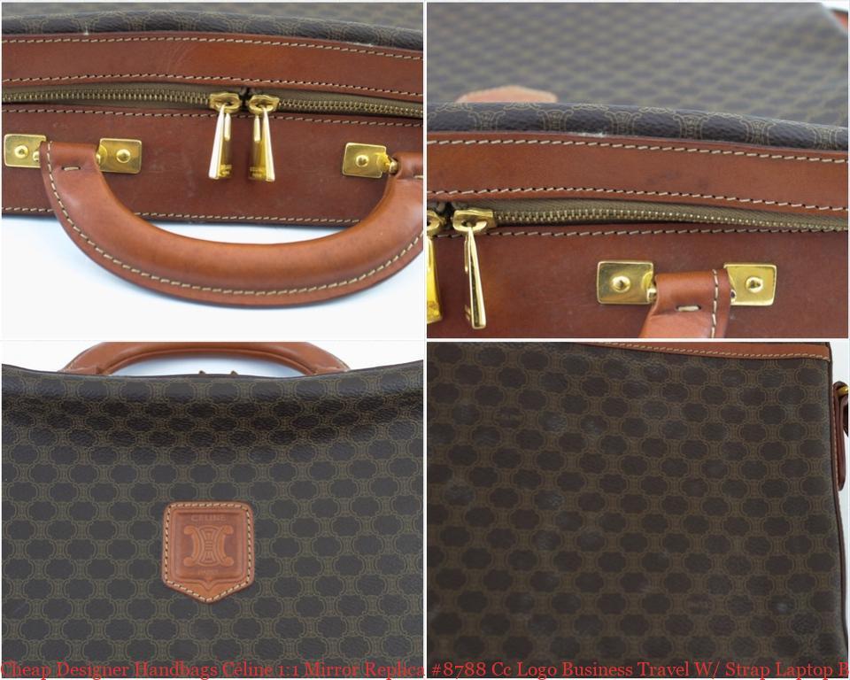 6554118b5ec4 Cheap Designer Handbags Céline 1:1 Mirror Replica #8788 Cc Logo Business  Travel W/ Strap Laptop Bag celine mini belt bag