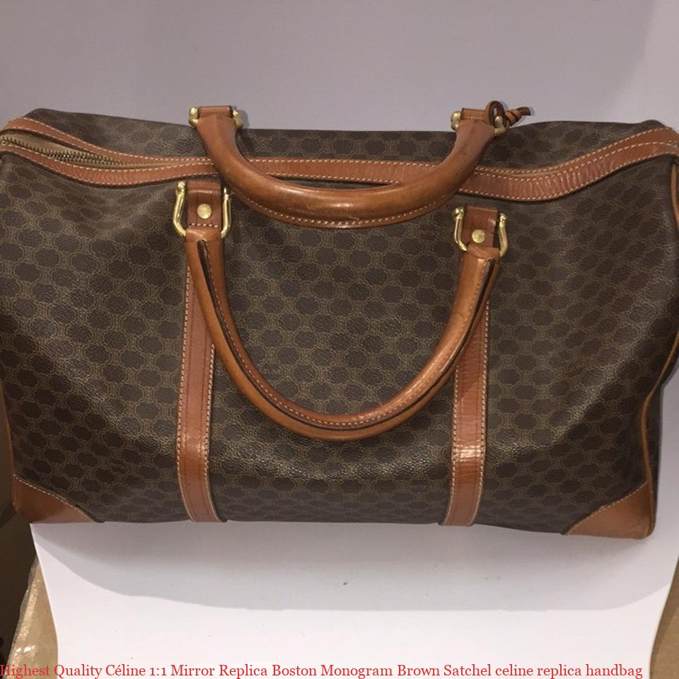 Highest Quality Céline 1 1 Mirror Replica Boston Monogram Brown Satchel celine  replica handbag e45224e5a1efe