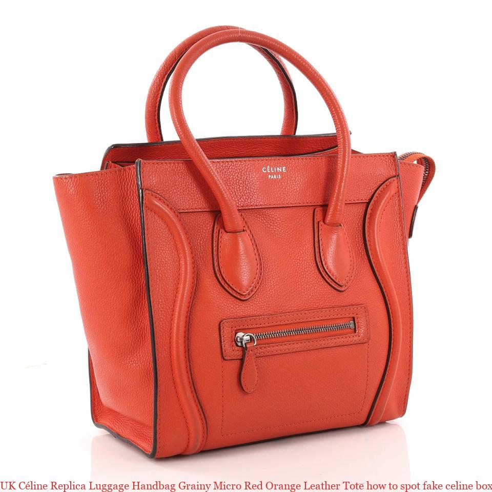 e7db244a33206 UK Céline Replica Luggage Handbag Grainy Micro Red Orange Leather Tote how  to spot fake celine box bag