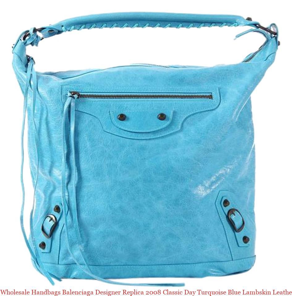 3e91f5e8524 Wholesale Handbags Balenciaga Designer Replica 2008 Classic Day Turquoise  Blue Lambskin Leather Hobo Bag balenciaga replica review